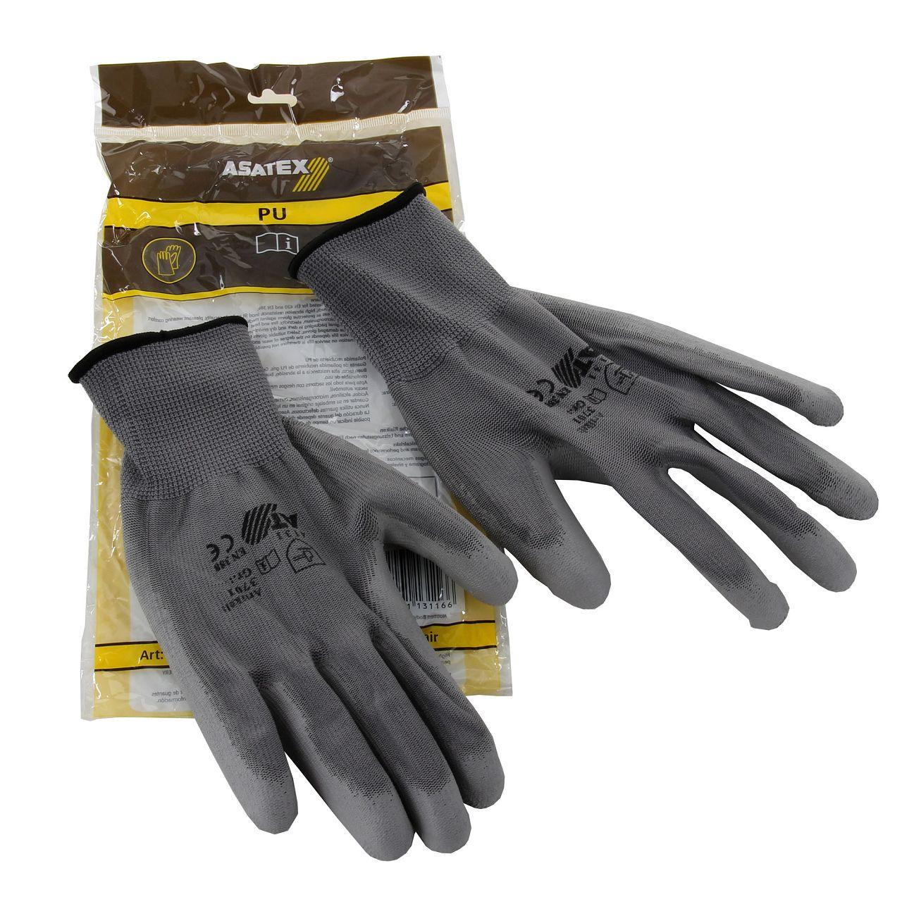 ASATEX 3701 Handschuhe Arbeitshandschuhe GUMMIERT - GRAU Größe 8 / M (1 Paar)