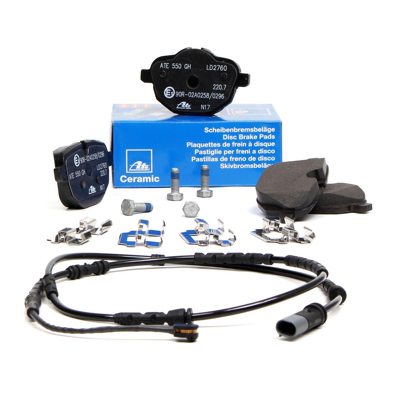 ATE CERAMIC Bremsbeläge + Warnkontakt für BMW X3 F25 X4 F26 20-35i 18-35d hinten