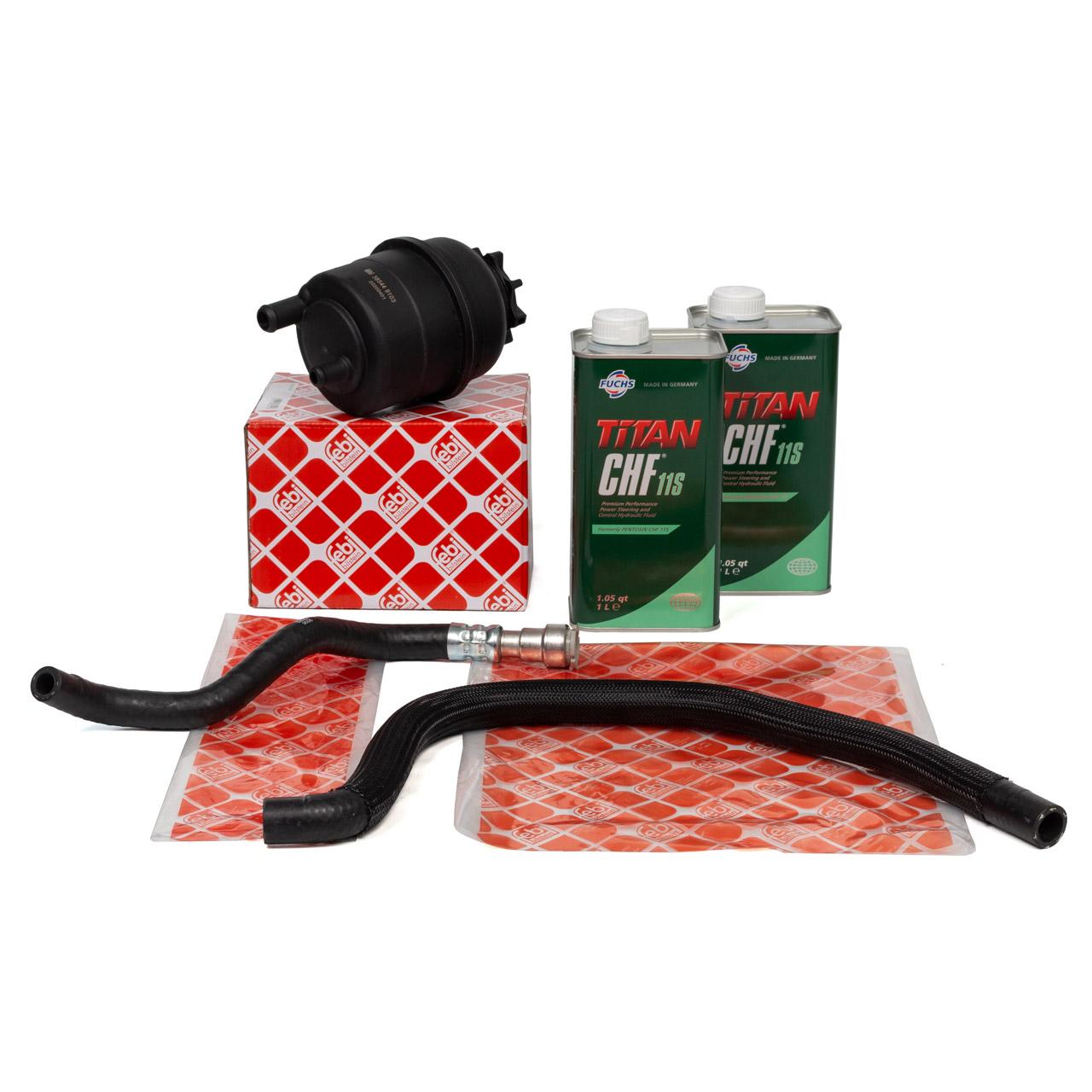 FEBI Ausgleichsbehälter + Hydraulikschläuche + 2L PENTOSIN Servoöl BMW 3er E46 M52 M54