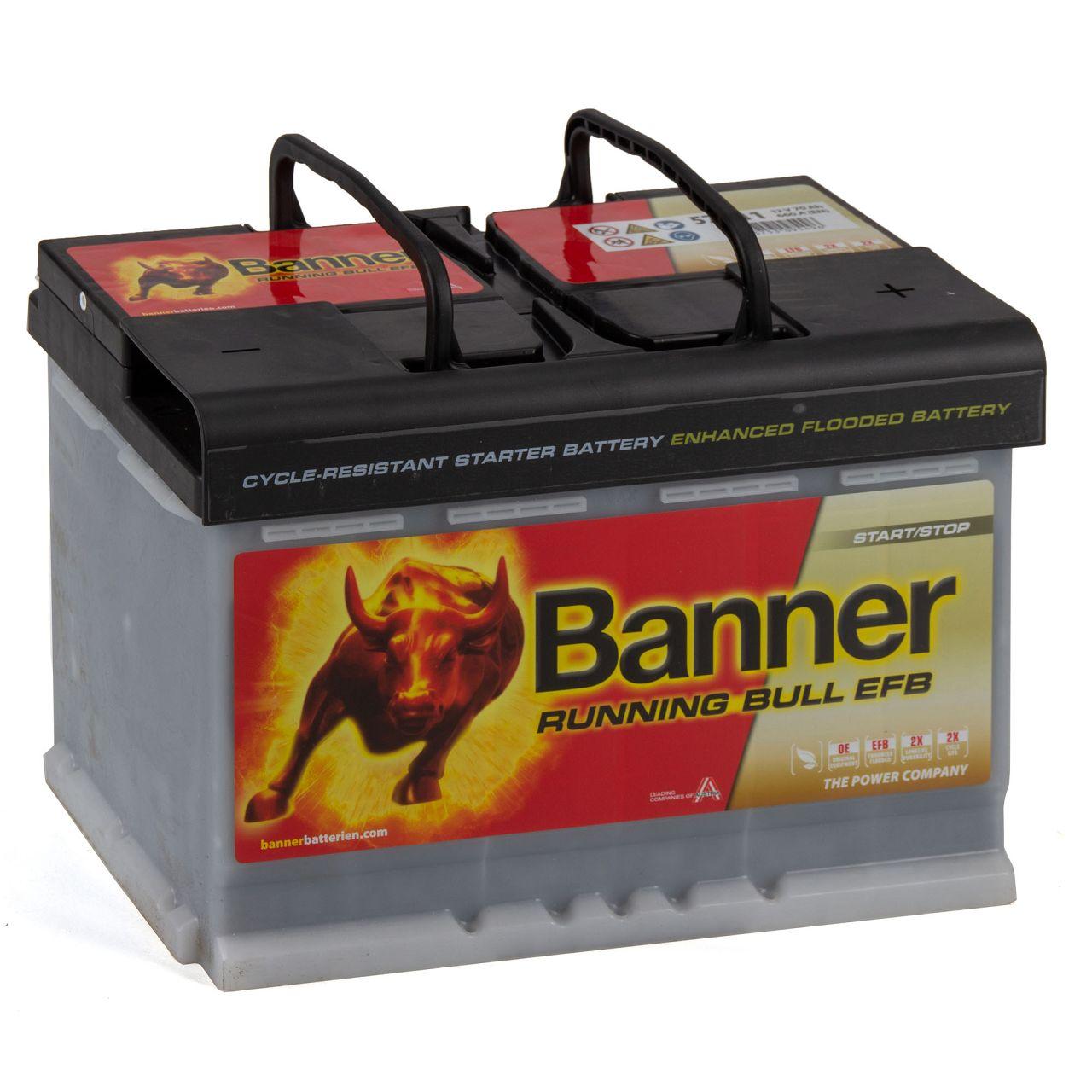 BANNER 57011 096EFBOE Running Bull EFB Autobatterie Batterie 12V 70Ah 660A