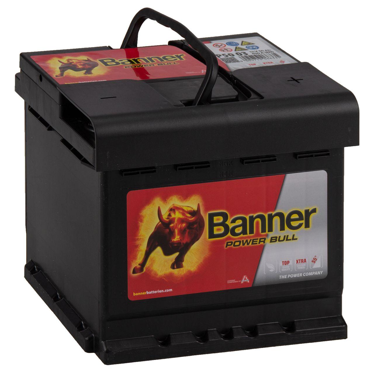 BANNER 55003 P5003 Power Bull Autobatterie Batterie 12V 50Ah 450A