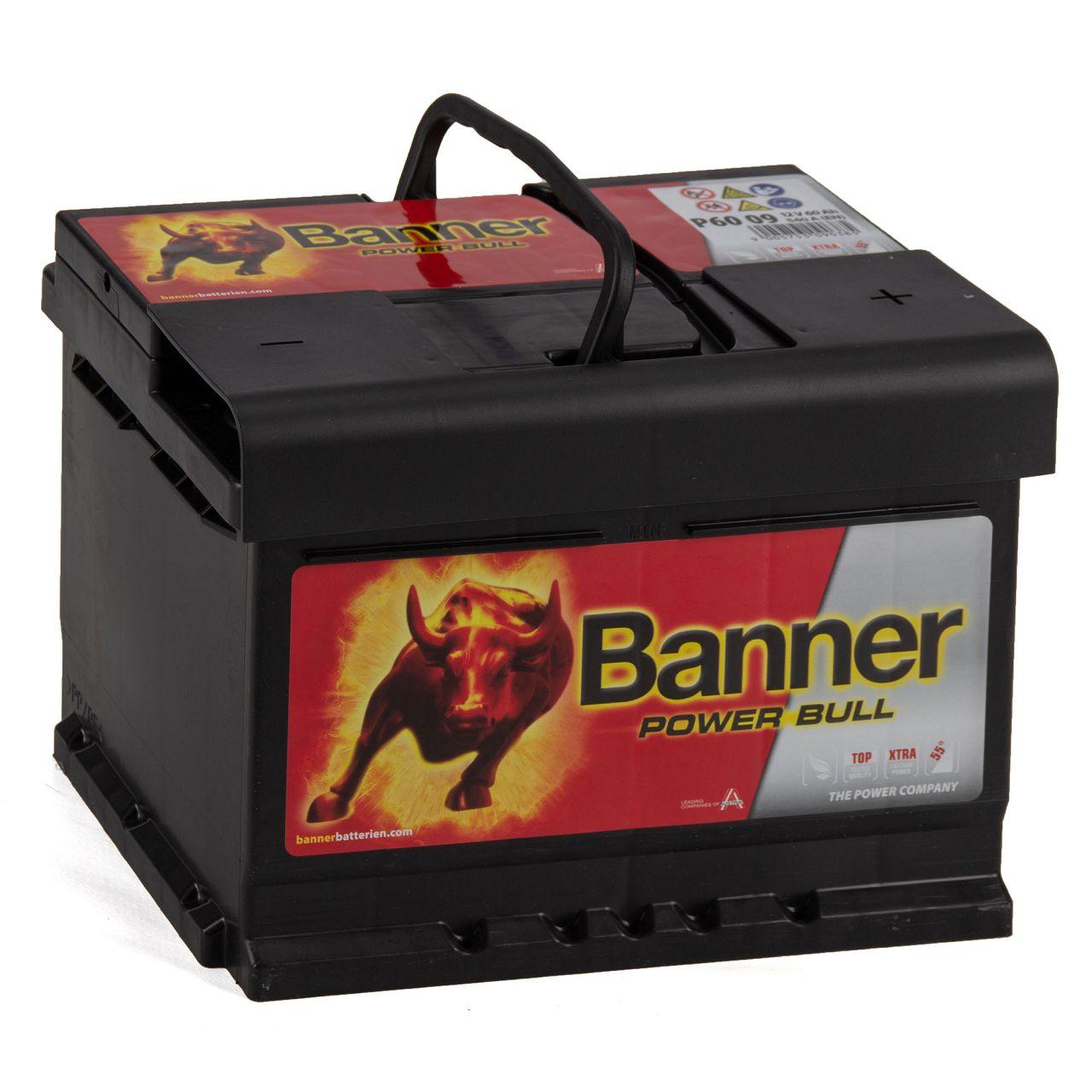 BANNER 56009 P6009 Power Bull Autobatterie Batterie 12V 60Ah 540A
