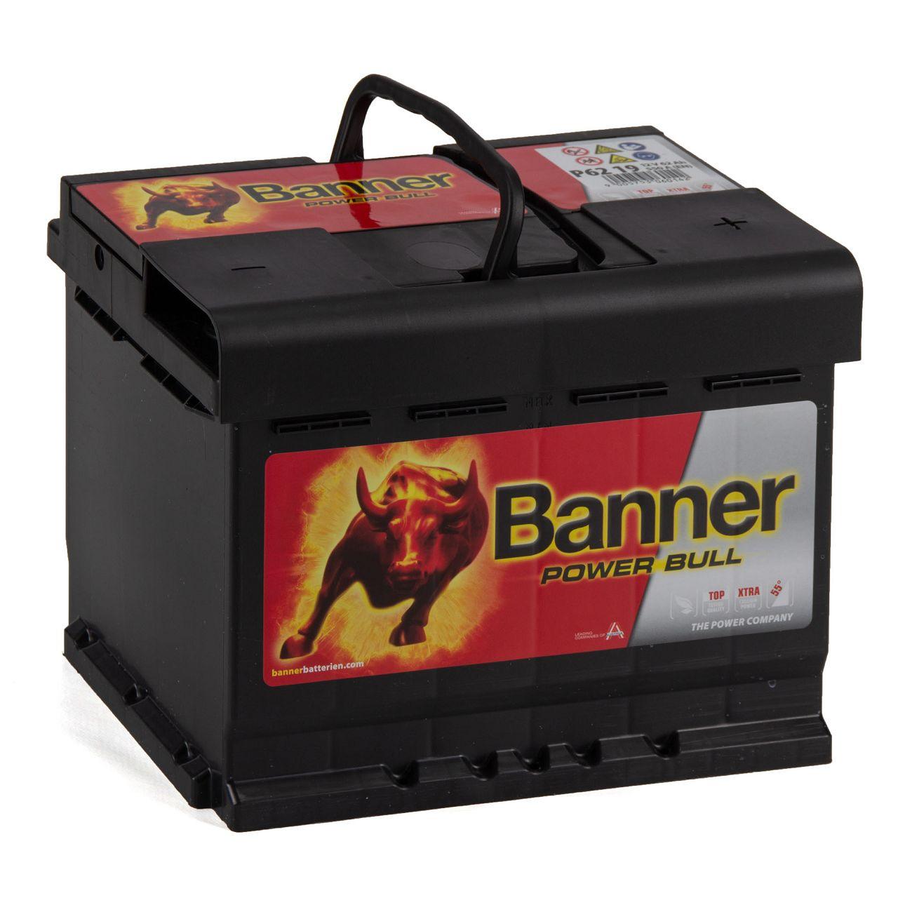 BANNER 56219 P6219 Power Bull Autobatterie Batterie 12V 62Ah 550A