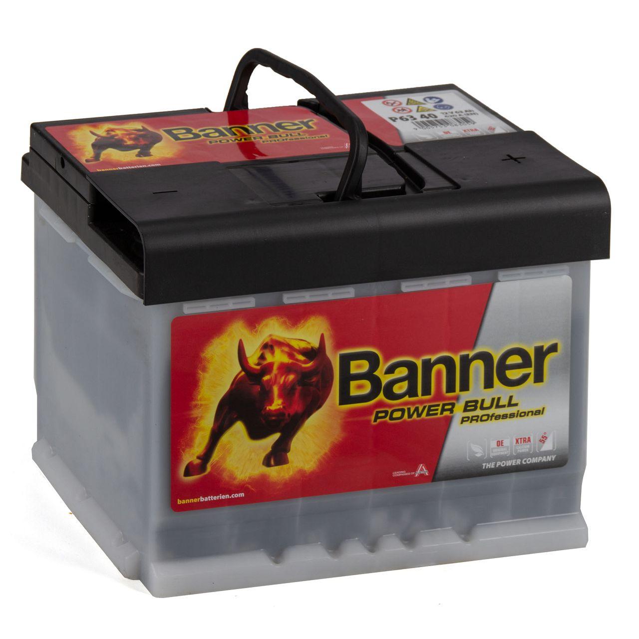 BANNER PROP6340 PRO P6340 Power Bull Professional Autobatterie Batterie 12V 63Ah