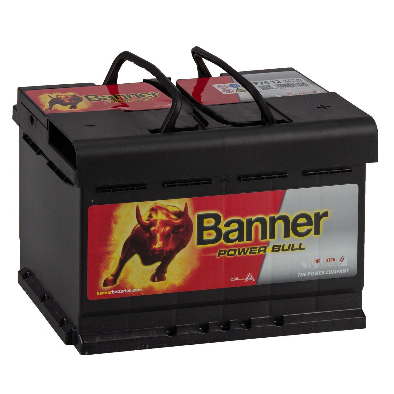 BANNER 57412 P7412 Power Bull Autobatterie Batterie 12V 74Ah 680A