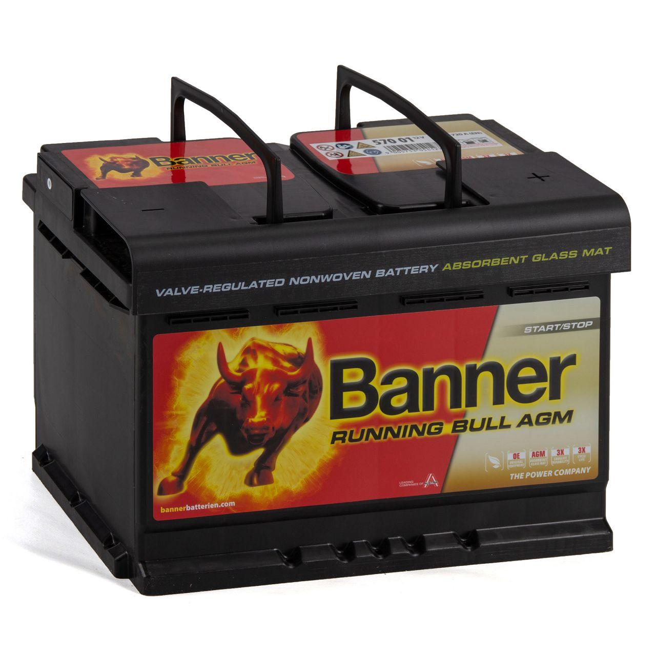 BANNER 57001 096AGMOE Running Bull AGM Autobatterie Batterie 12V 70Ah 720A