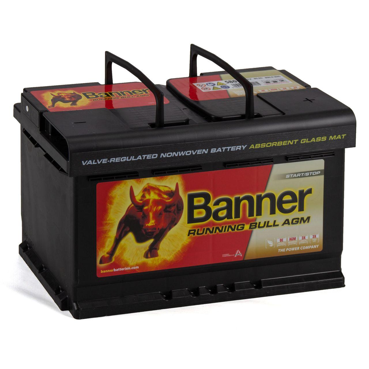 BANNER 58001 110AGMOE Running Bull AGM Autobatterie Batterie 12V 80Ah 800A