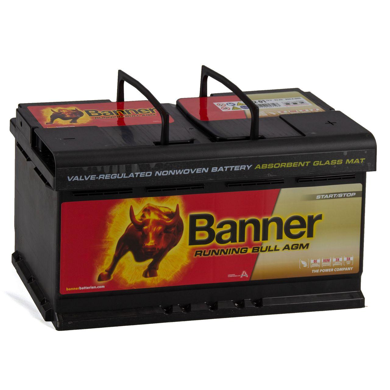 BANNER 59201 019AGMOE Running Bull AGM Autobatterie Batterie 12V 92Ah 850A