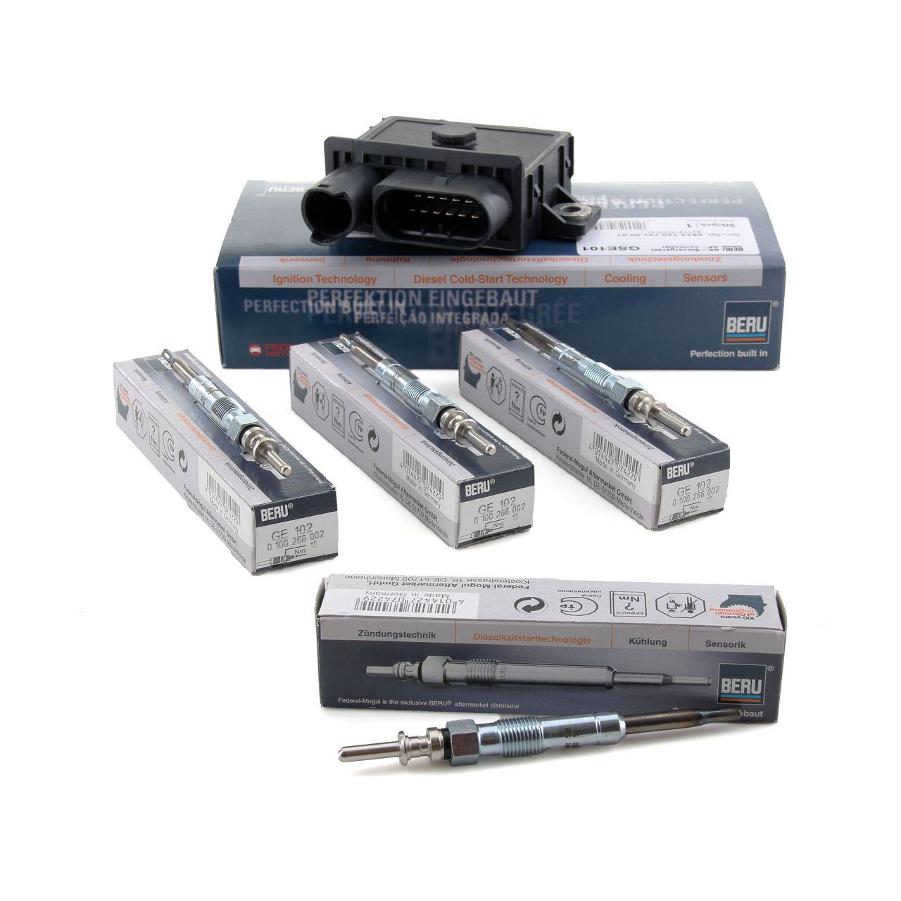 BERU Steuergerät Glühzeit GSE101 + 4x Glühkerze Set GE102 für BMW 4 Zylinder