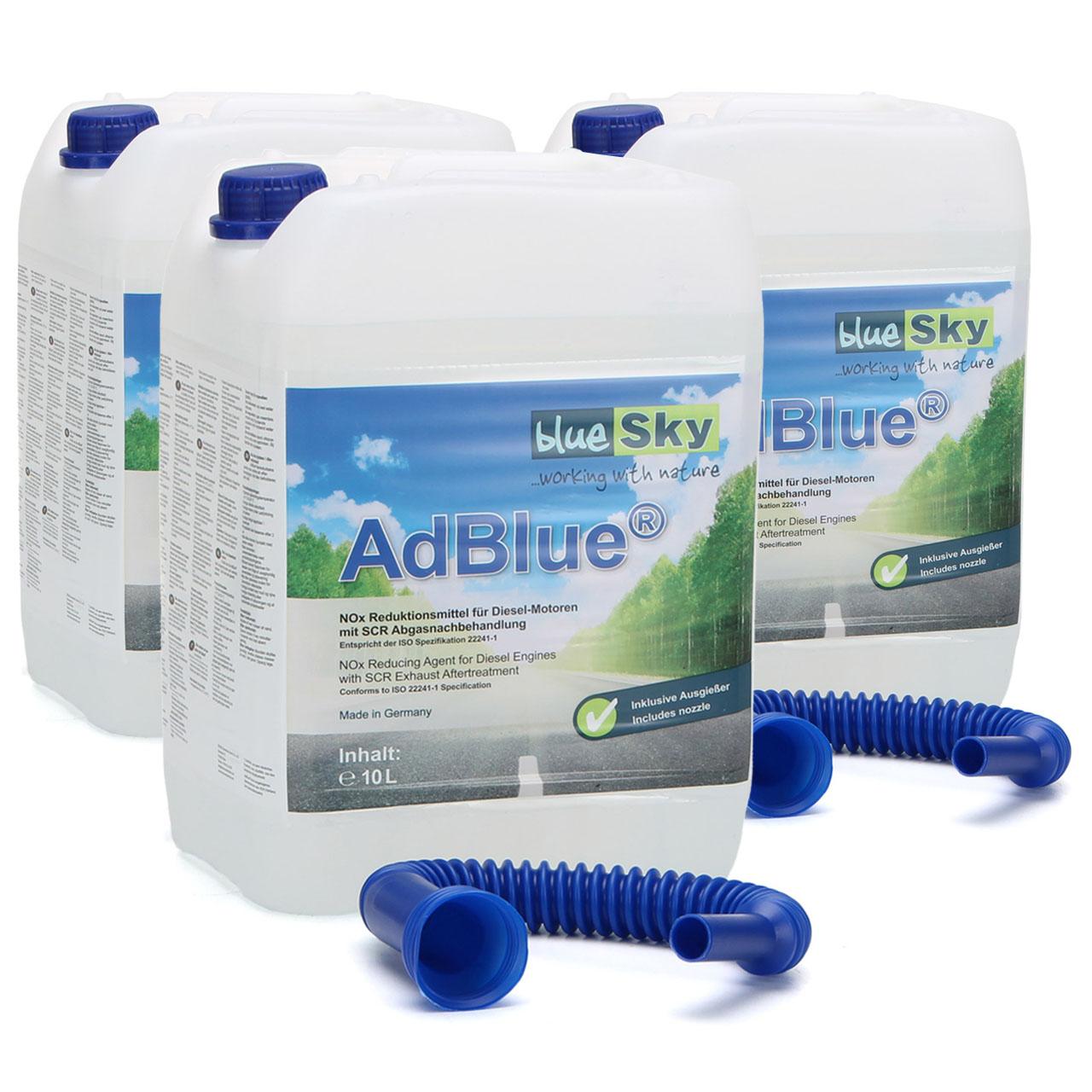 3x 10 Liter AdBlue® NOX-Reduktionsmittel für Diesel-Motoren Harnstoff ISO 22241