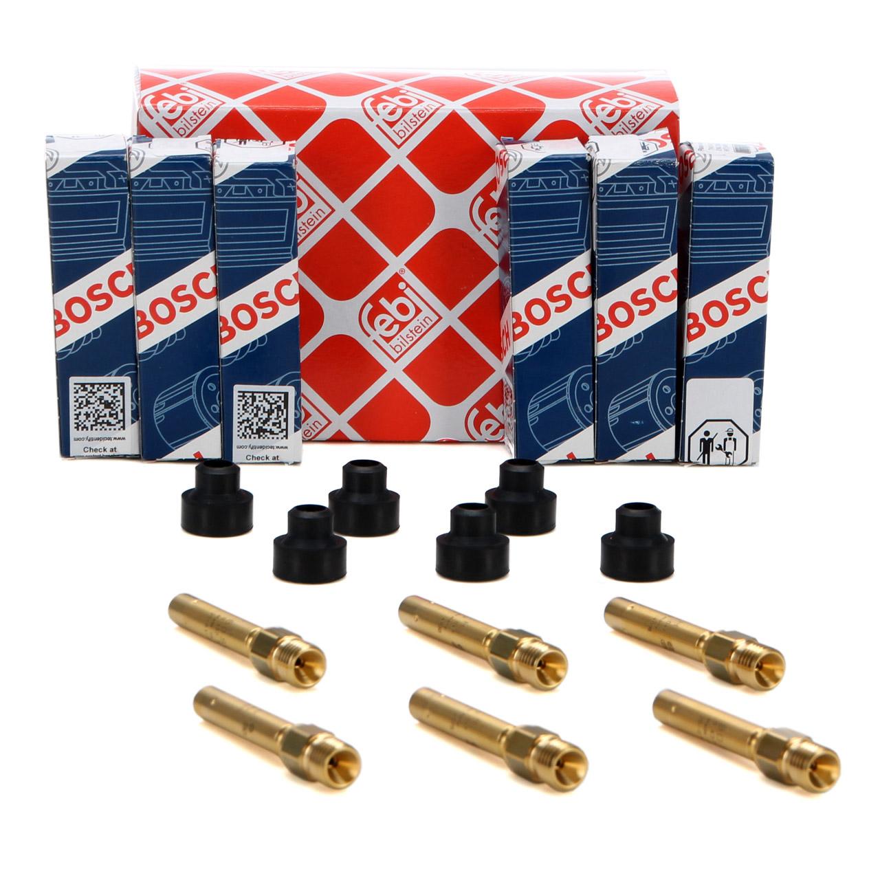 6x BOSCH 0437502047 Einspritzventil + Halter für MERCEDES 190 W201 W124 W126