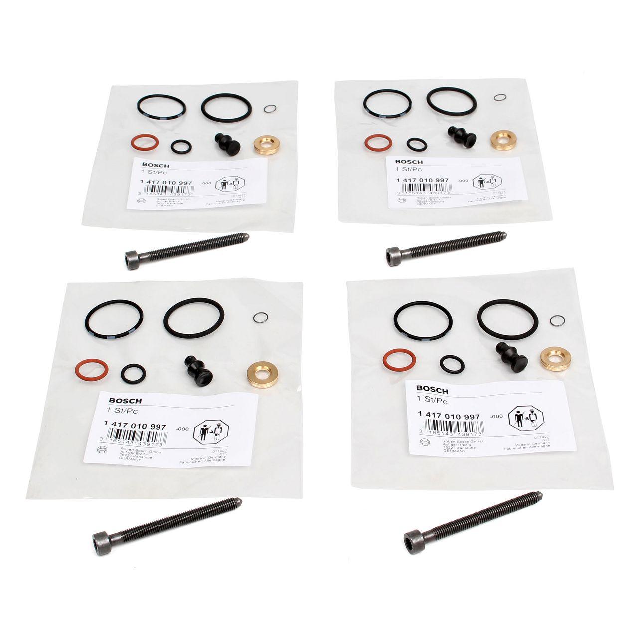 4x BOSCH 1417010997 Dichtungssatz Einspritzdüse + ORIGINAL Schrauben für VAG TDI