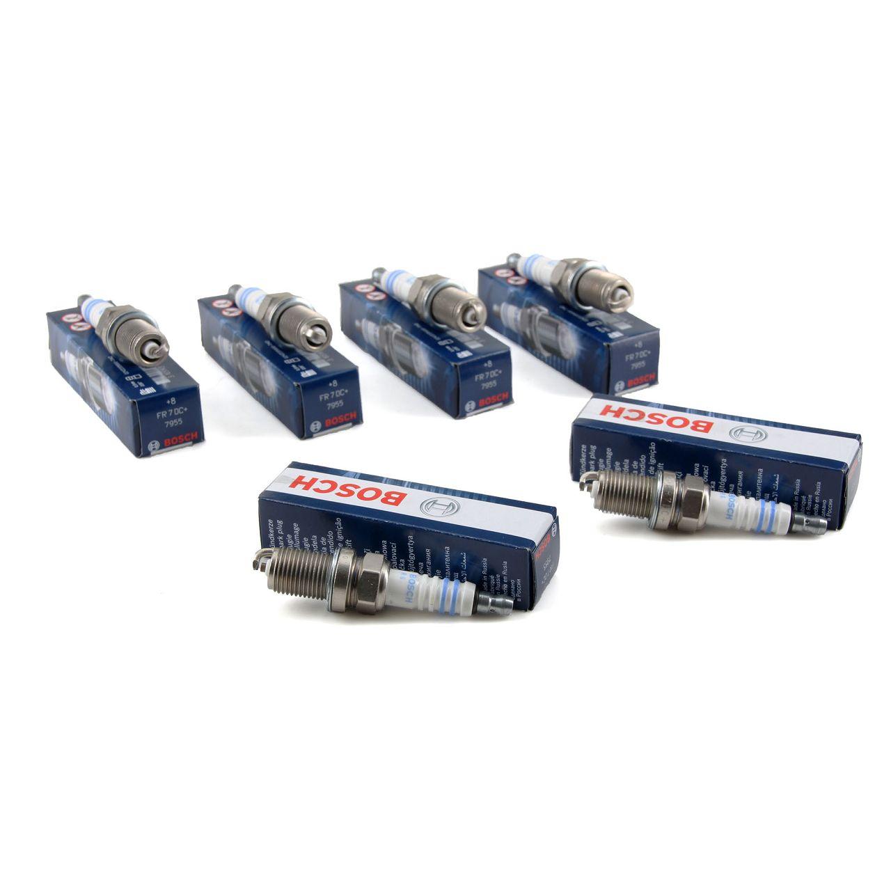 6x BOSCH FR7DC+ 0242235666 Zündkerze MERCEDES W202 W124 W210 W463 W140 M111