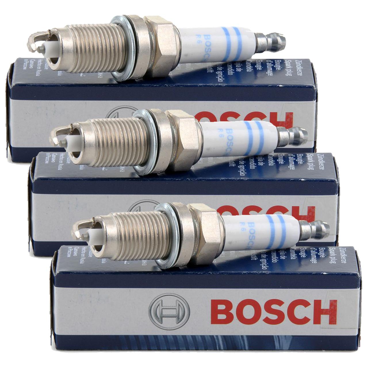 3x BOSCH FR7HC+ 0242236565 Zündkerze SEAT Ibiza 3 4 SKODA Fabia 1 2 VW Fox Polo 1.2