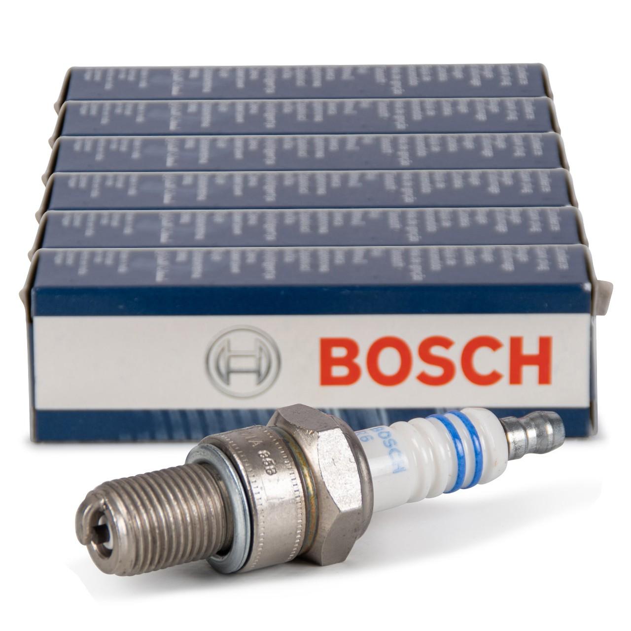 6x BOSCH WR4CC 0242250503 Zündkerze PORSCHE 911 3.2 SC Carrera bis 07.1989