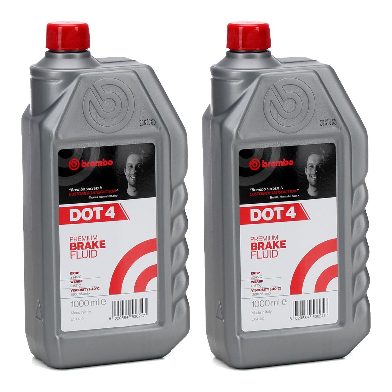 BREMBO Bremsflüssigkeit L04010 DOT 4 Premium Brake Fluid 2 L 2 Liter