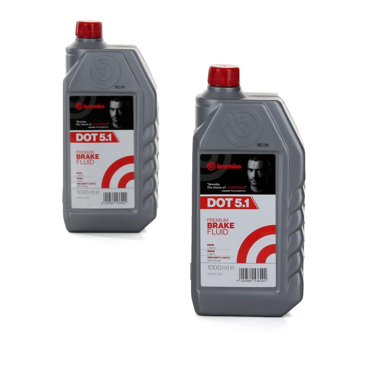 BREMBO Bremsflüssigkeit L05010 DOT 5.1 Premium Brake Fluid 2 L 2 Liter