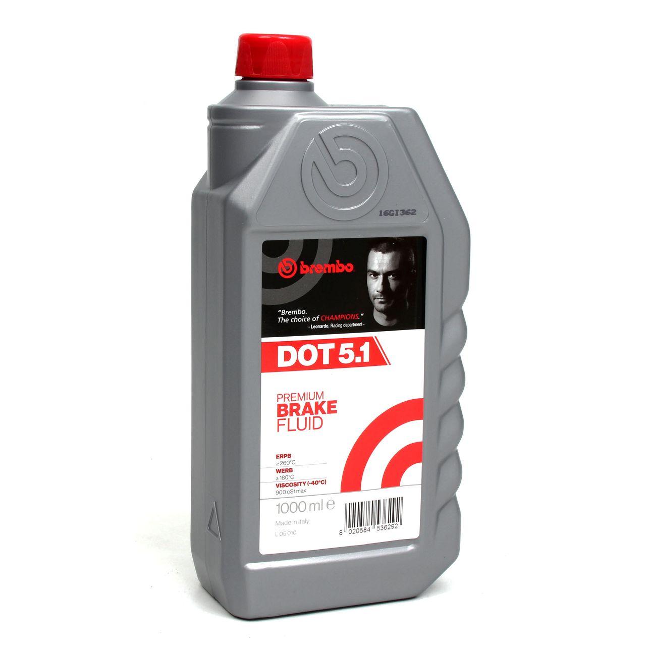 BREMBO Bremsflüssigkeit L05010 DOT 5.1 Premium Brake Fluid 1 L 1 Liter
