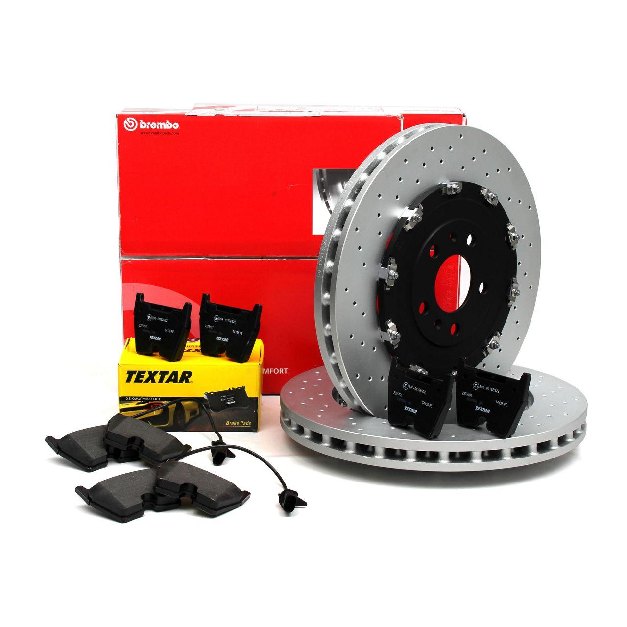 Bremsen Kit BREMBO Bremsscheiben + TEXTAR Bremsbeläge für AUDI RS4 (8E B7) vorne