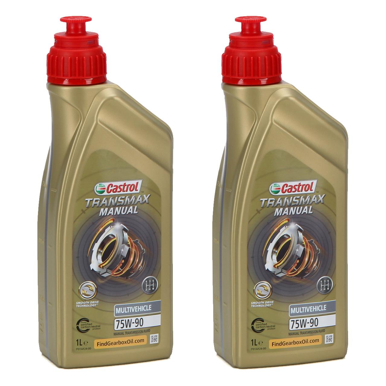 2L 2 Liter CASTROL Schaltgetriebeöl TRANSMAX MANUAL MULTIVEHICLE 75W-90 API GL-4