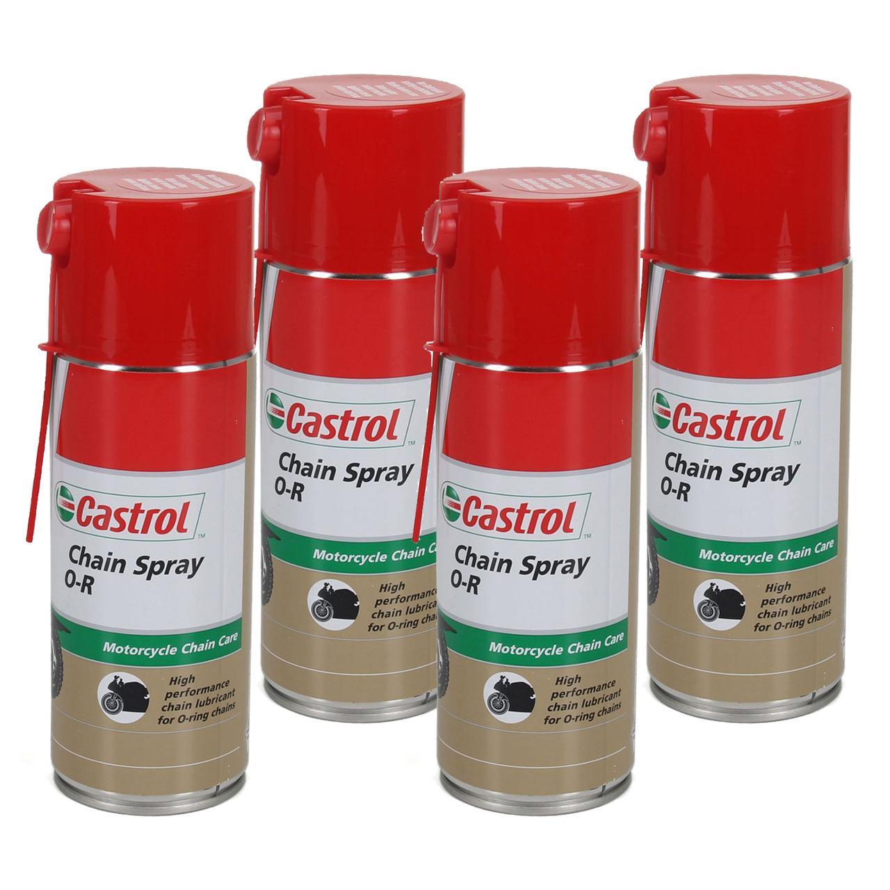 CASTROL Chain Spray O-R Kettenspray Kettenfett Fettspray Motorrad 4x 400ml