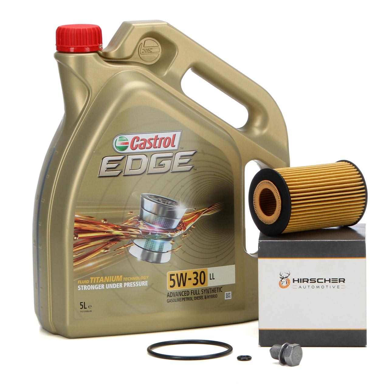 CASTROL EDGE Motoröl ÖL TITANIUM 5W30 LL 5 Liter + HIRSCHER Ölfilter 03N115562B