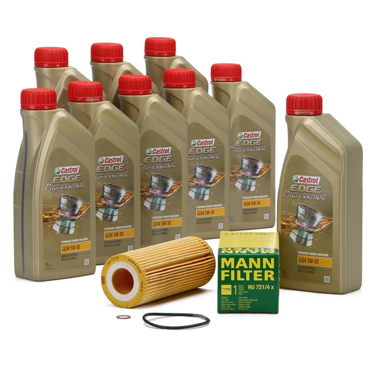 CASTROL EDGE Professional Motoröl Öl LL04 5W-30 9L + MANN Ölfilter HU721/4X
