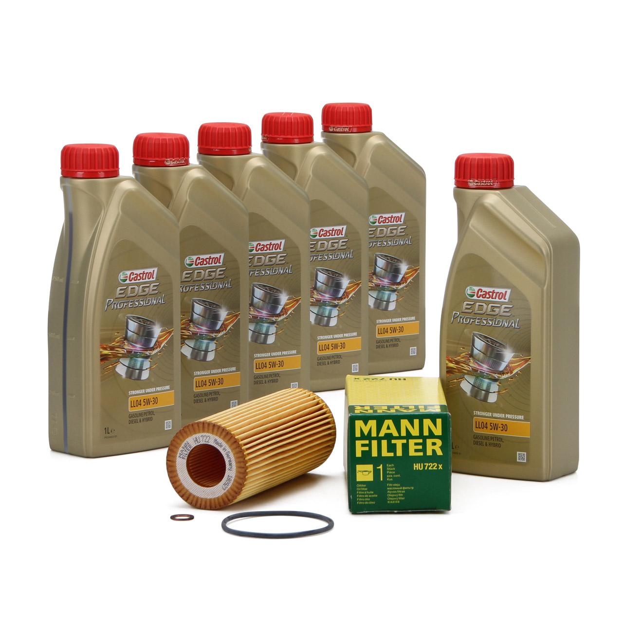 CASTROL EDGE Professional Motoröl Öl LL04 5W-30 6L + MANN Ölfilter HU722x