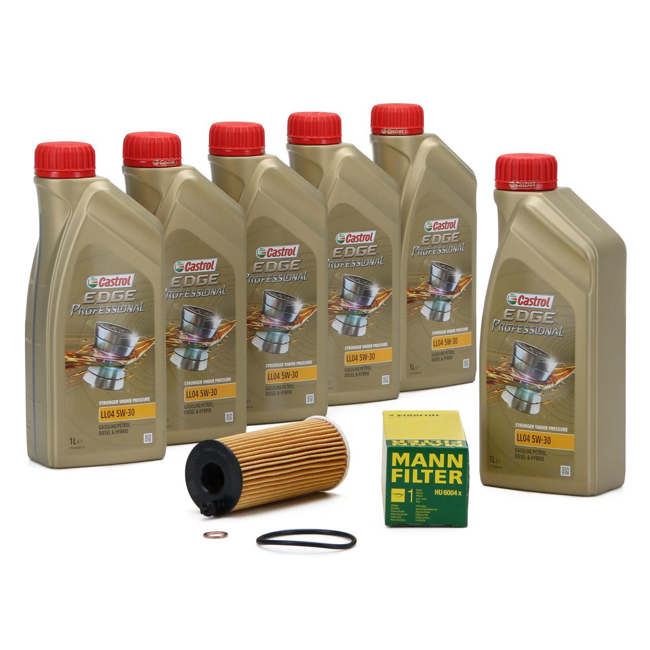 6L CASTROL EDGE Professional Motoröl Öl LL04 5W-30 + MANN Ölfilter HU6004x
