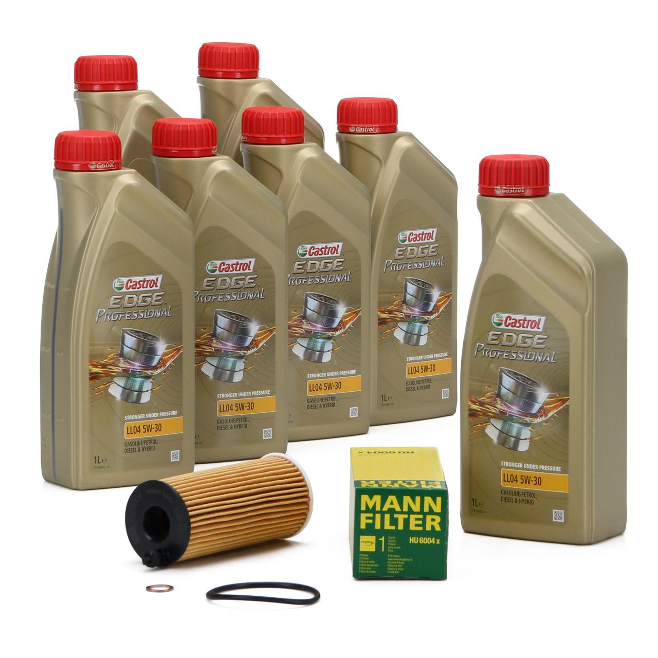 CASTROL EDGE Professional Motoröl Öl LL04 5W-30 7L + MANN Ölfilter HU6004x