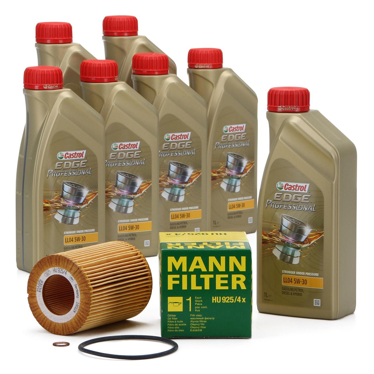 CASTROL EDGE Professional Motoröl Öl LL04 5W-30 7L + MANN Ölfilter HU925/4x