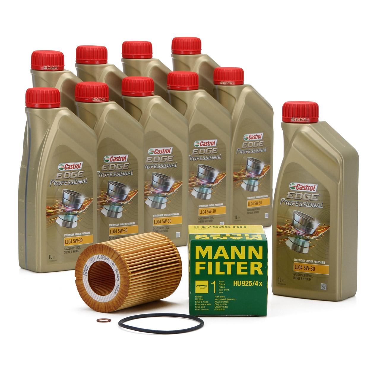 CASTROL EDGE Professional Motoröl Öl LL04 5W-30 10L + MANN Ölfilter HU925/4x