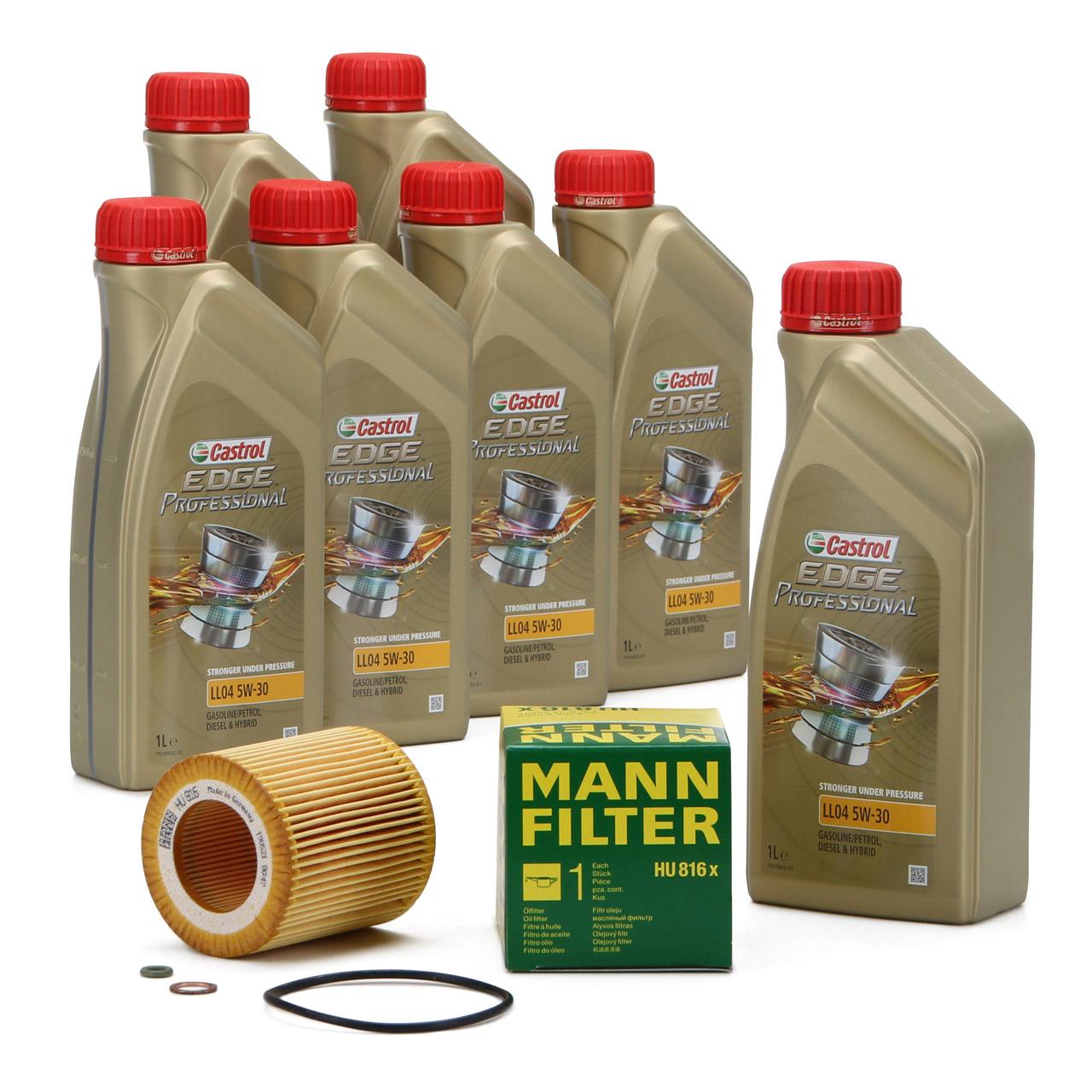 7L CASTROL EDGE Professional Motoröl Öl LL04 5W-30 + MANN Ölfilter HU816x