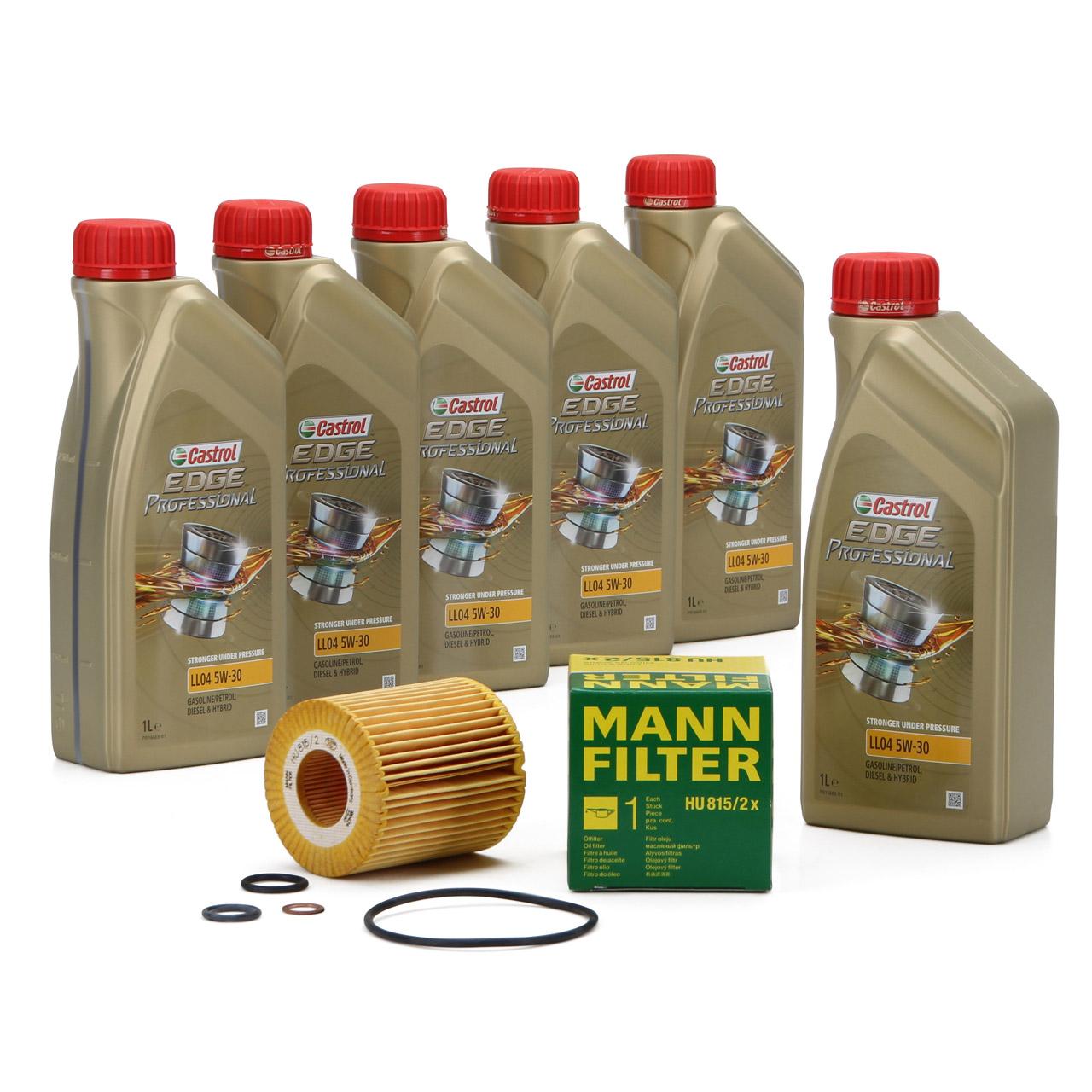 CASTROL EDGE Professional Motoröl Öl LL04 5W-30 6L + MANN Ölfilter HU815/2x