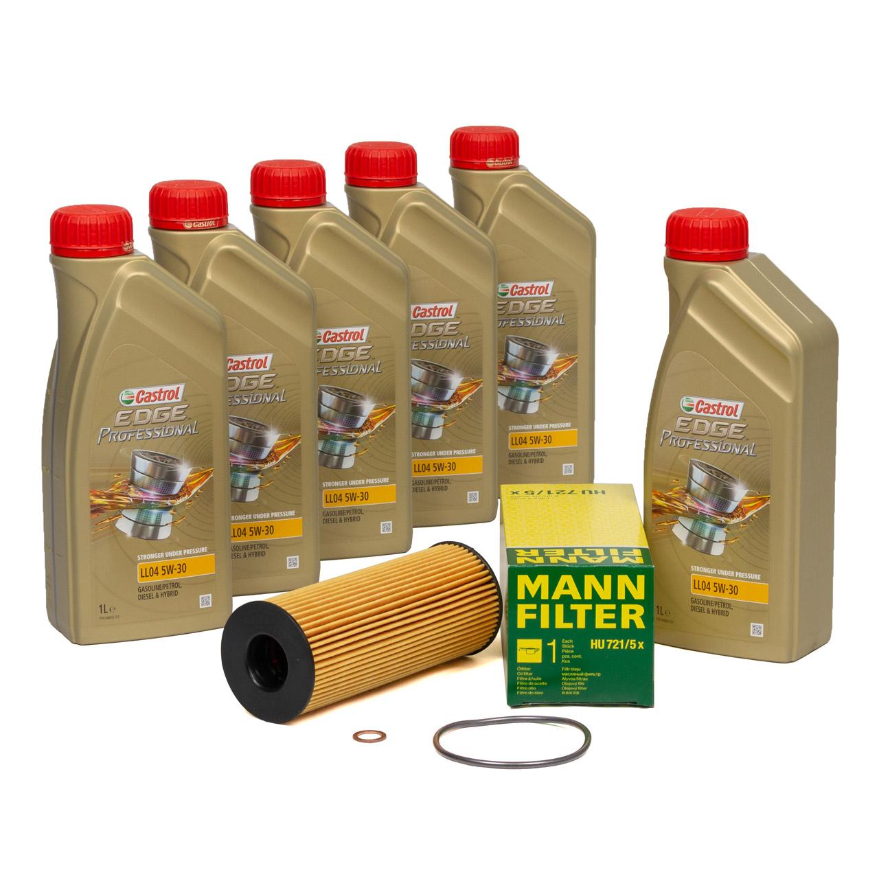 CASTROL EDGE Professional Motoröl Öl LL04 5W-30 6L + MANN Ölfilter HU721/5x