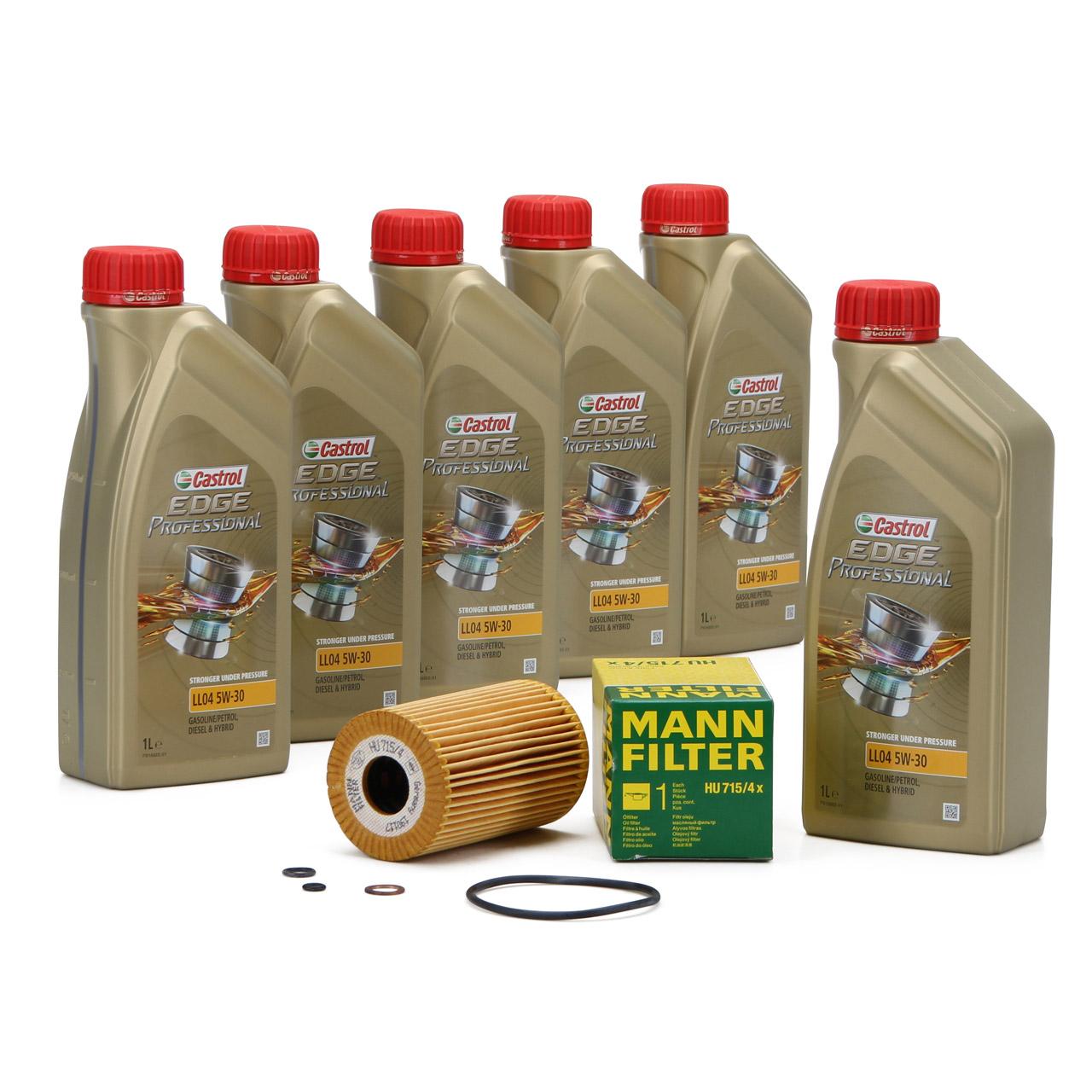 CASTROL EDGE Professional Motoröl Öl LL04 5W-30 6L + MANN Ölfilter HU715/4x