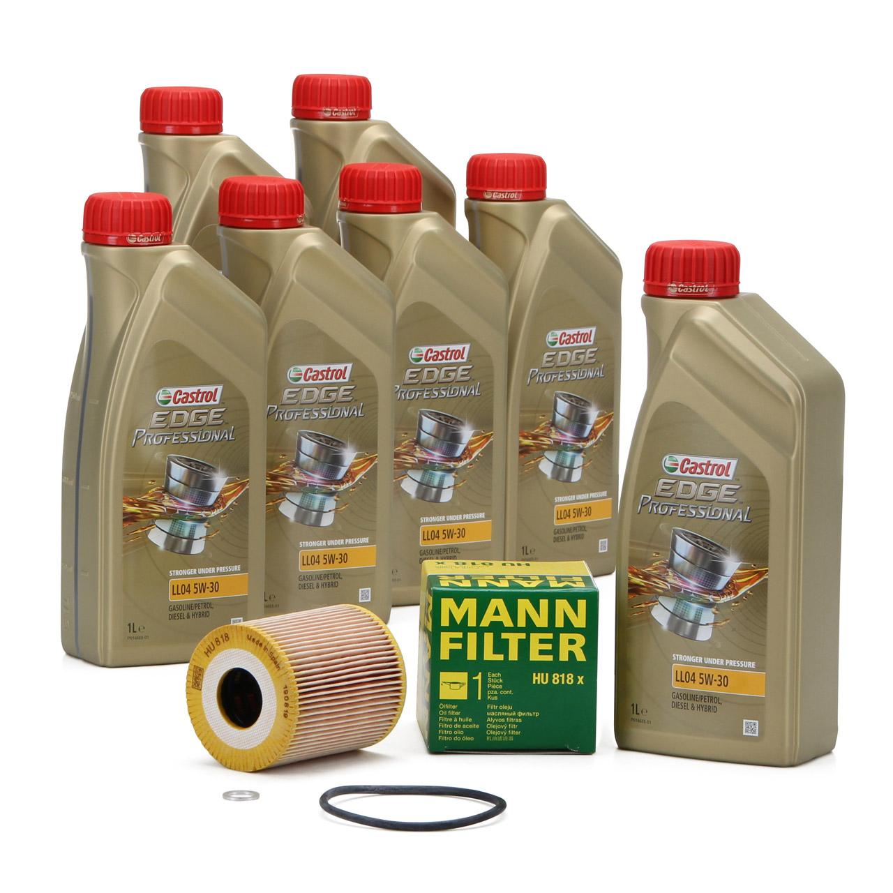 CASTROL EDGE Professional Motoröl Öl LL04 5W-30 7L + MANN Ölfilter HU818x