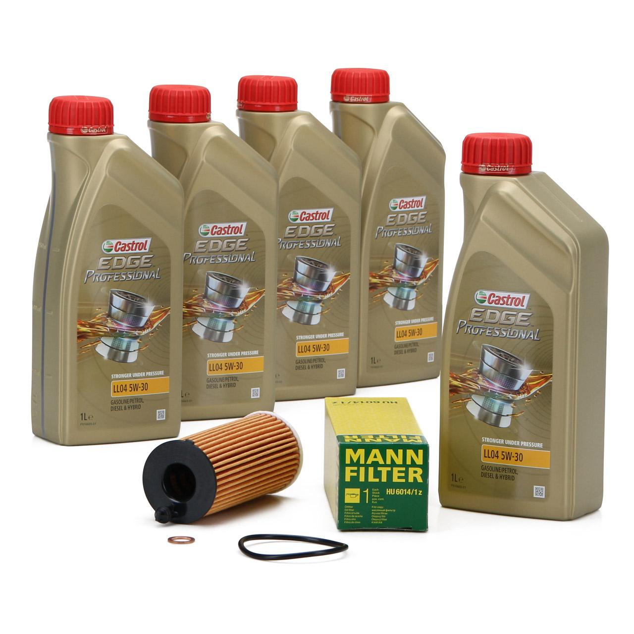 CASTROL EDGE Professional Motoröl Öl LL04 5W-30 5L + MANN Ölfilter HU6014/1z