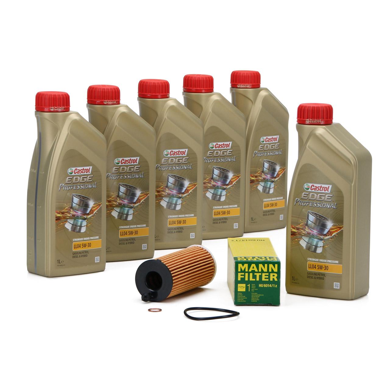 CASTROL EDGE Professional Motoröl Öl LL04 5W-30 6L + MANN Ölfilter HU6014/1z