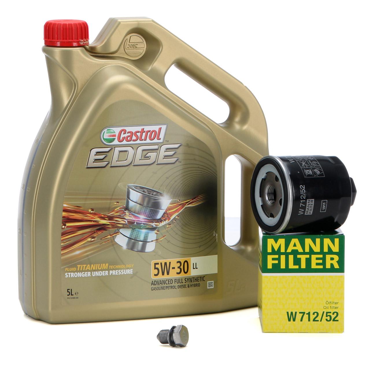CASTROL EDGE Motoröl ÖL TITANIUM 5W30 LL 5L 5 Liter + MANN Ölfilter W712/52