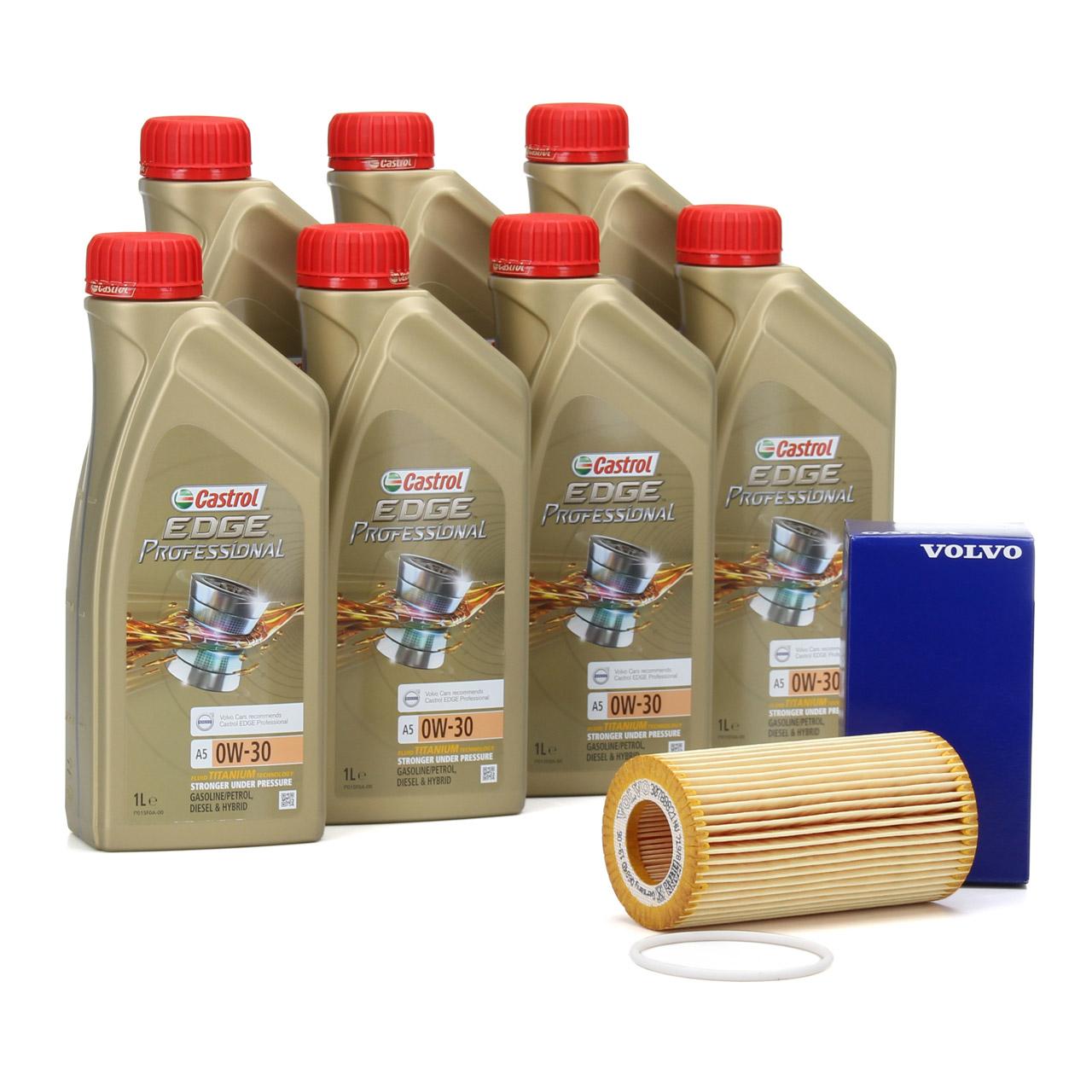 CASTROL EDGE Professional Öl TITANIUM FST A5 0W30 7 L + ORIGINAL Volvo Ölfilter