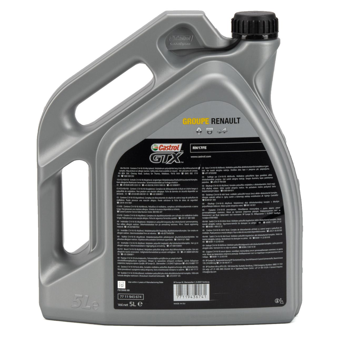 CASTROL Motoröl Öl GTX RN-SPEC 0W-20 0W20 für Renault RN17FE - 5L 5 Liter