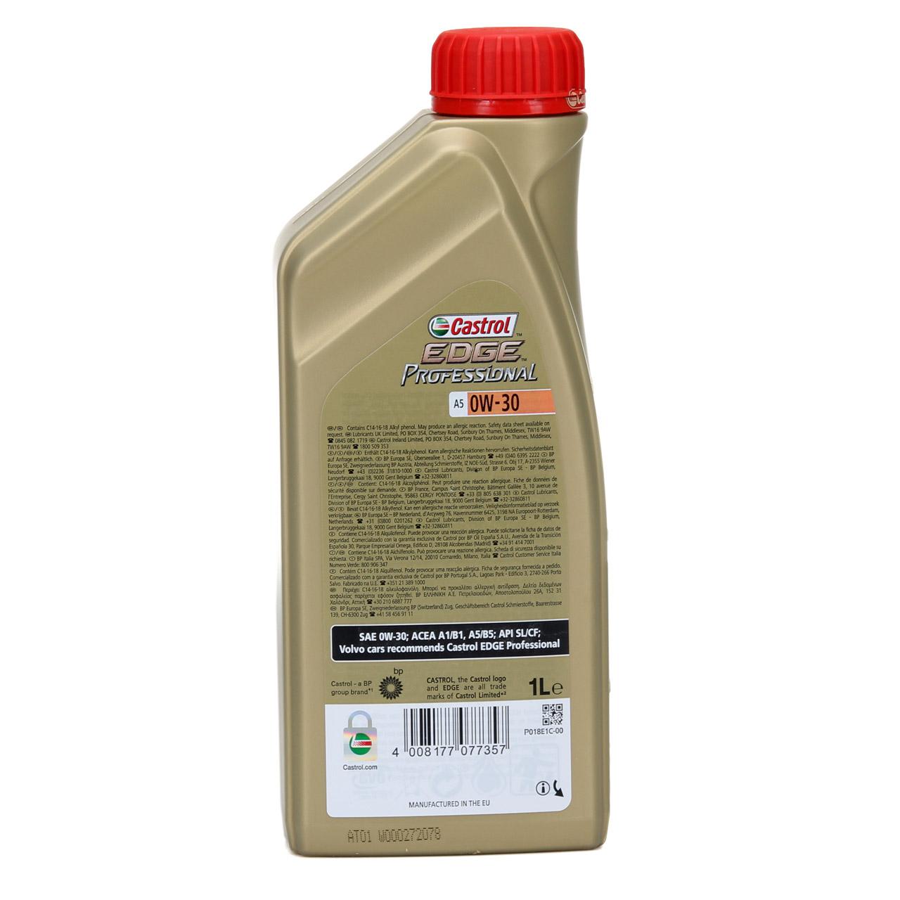 CASTROL EDGE Professional Motoröl Öl TITANIUM FST A5 0W-30 0W30 VOLVO 1 Liter