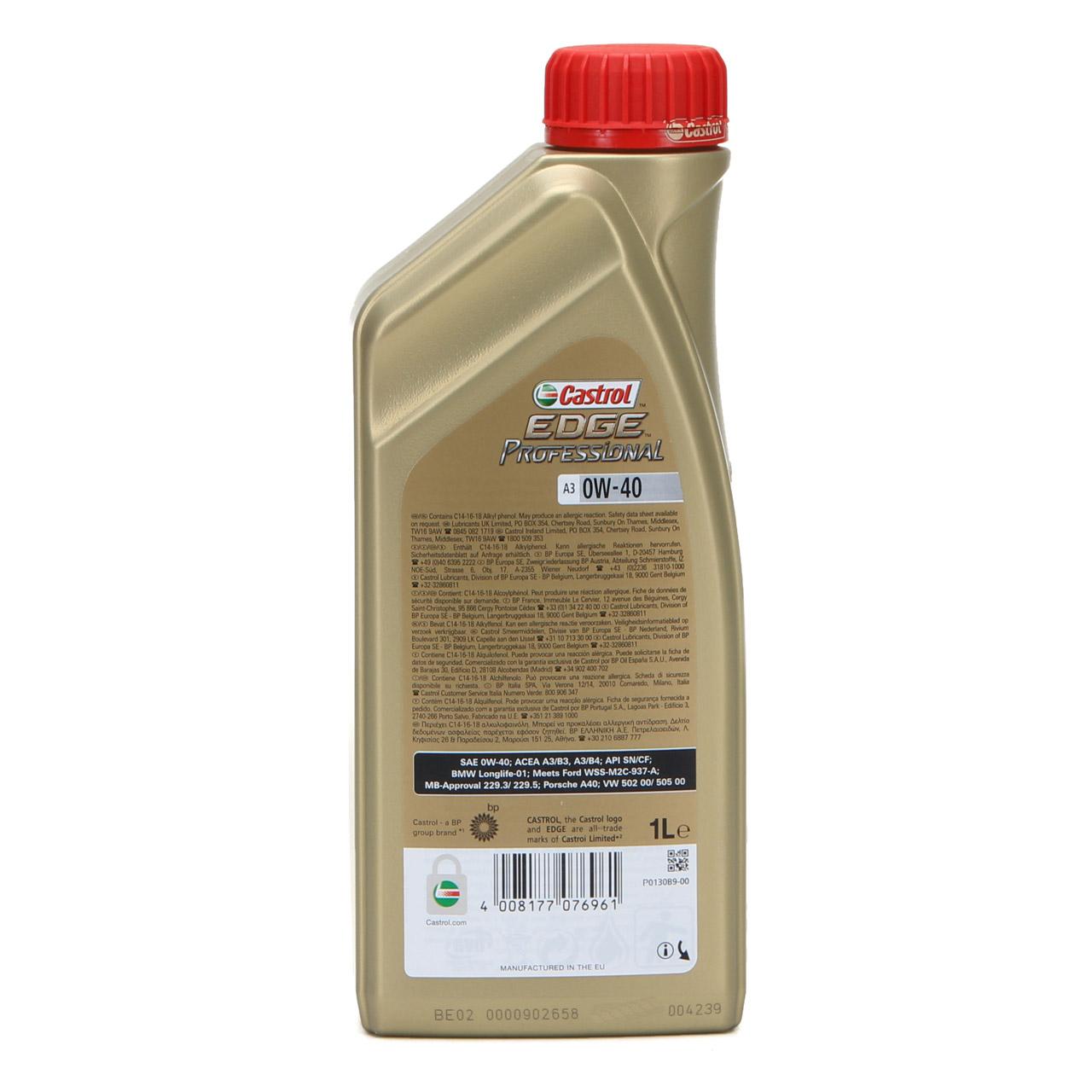 CASTROL EDGE Professional Motoröl Öl TITANIUM FST A3 0W40 BMW LL-01 - 1L 1 Liter