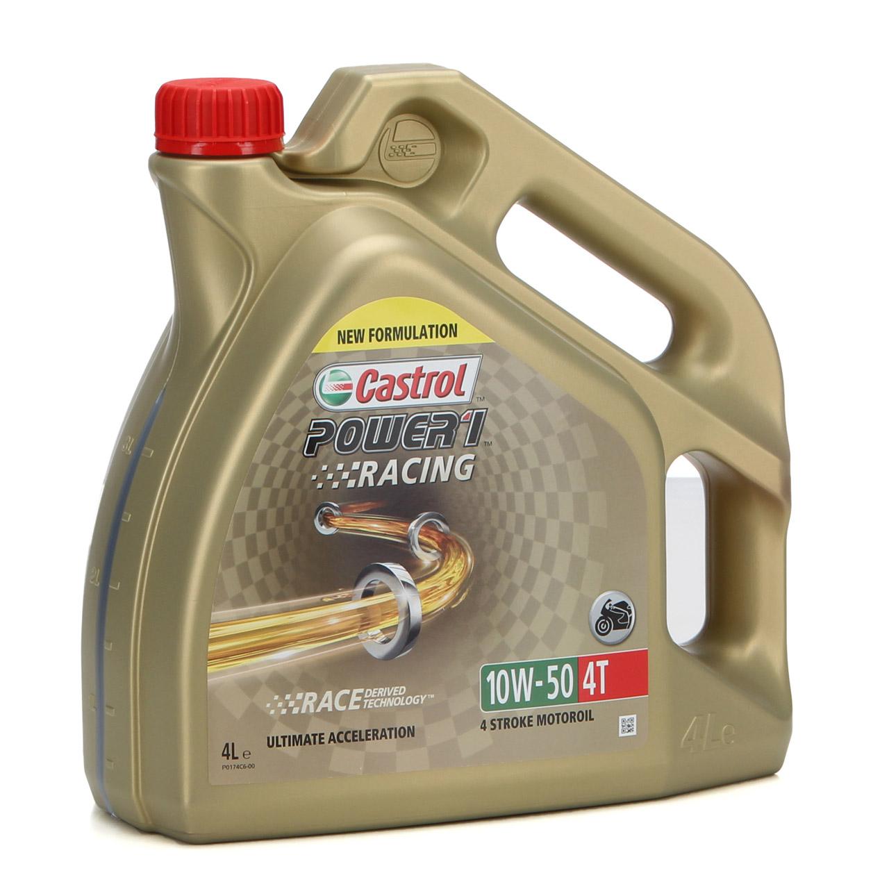 6L 6 Liter CASTROL Motoröl Öl POWER 1 RACING 4T 4-TAKT 10W50 JASO MA-2 API SN