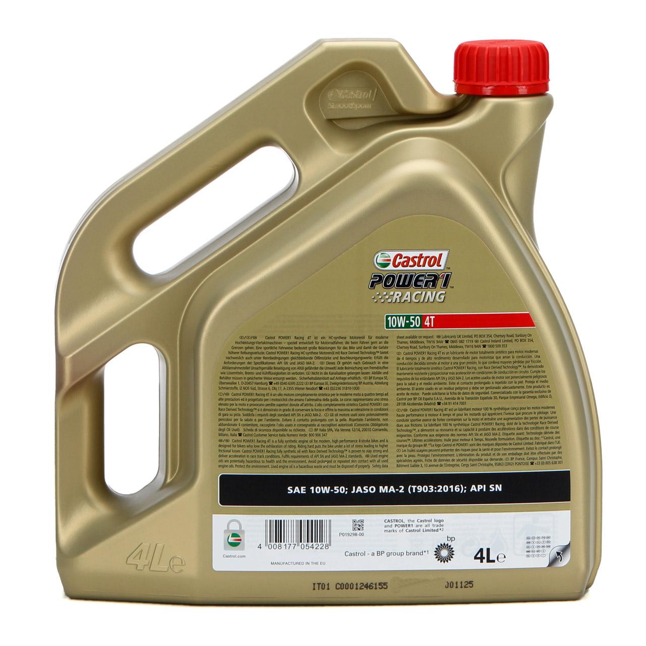 4L 4 Liter CASTROL Motoröl Öl POWER 1 RACING 4T 4-TAKT 10W50 JASO MA-2 API SN
