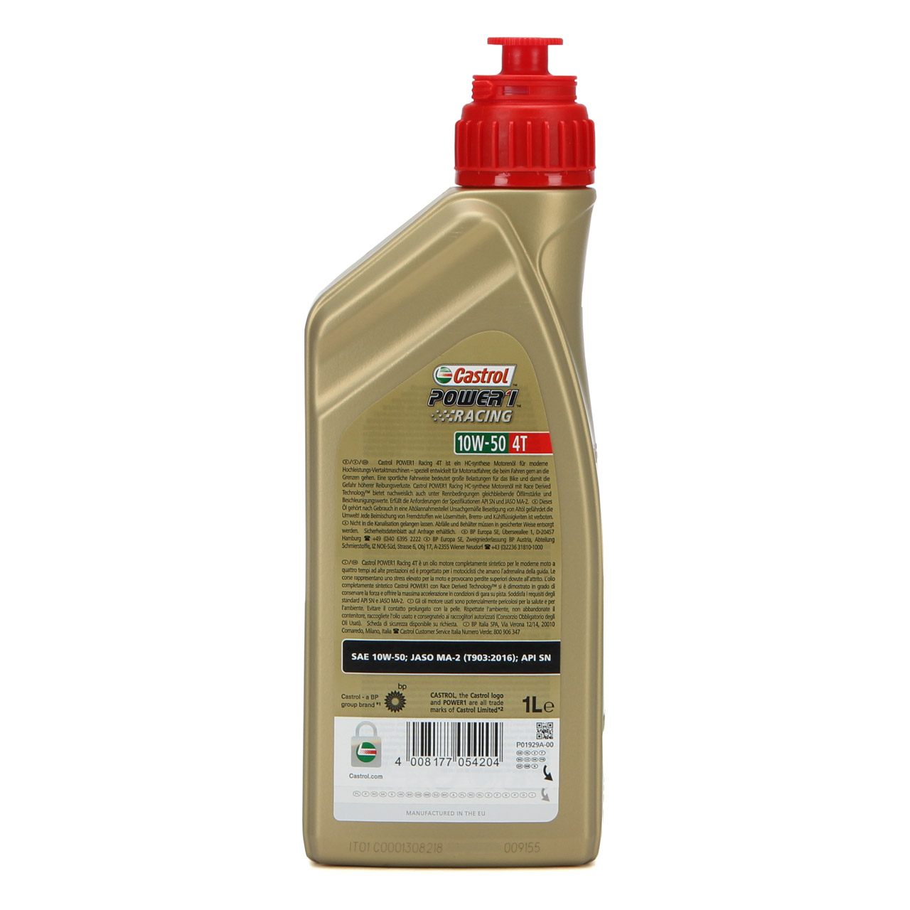 1L 1 Liter CASTROL Motoröl Öl POWER 1 RACING 4T 4-TAKT 10W50 JASO MA-2 API SN
