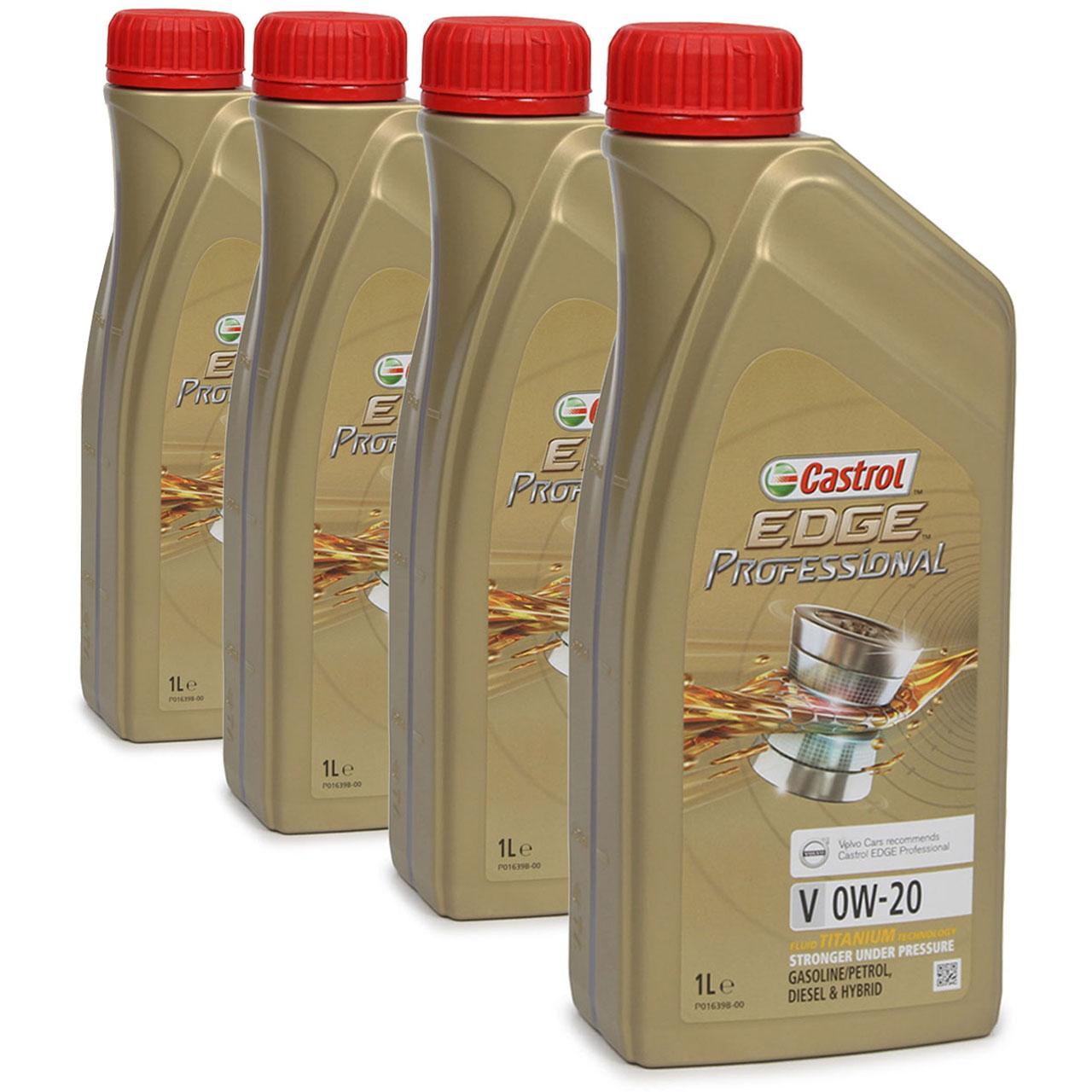 CASTROL EDGE Professional Motoröl ÖL TITANIUM FST V 0W20 C5 für VOLVO - 4 Liter