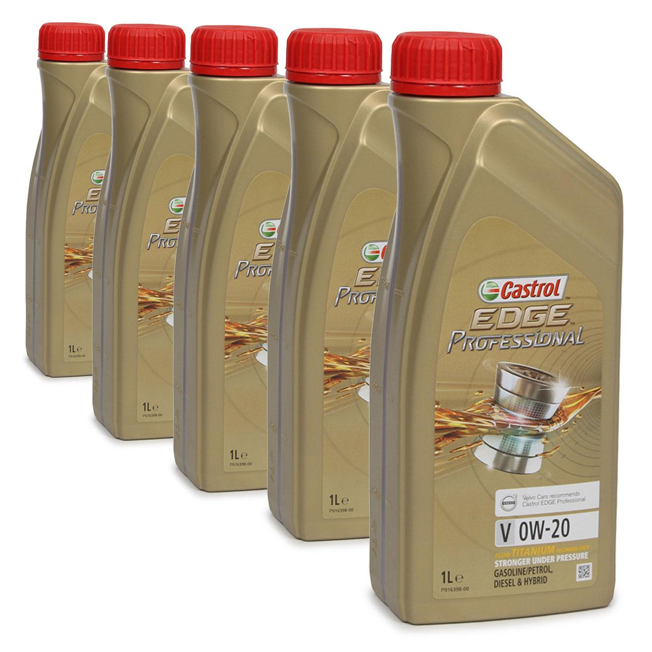 CASTROL EDGE Professional Motoröl ÖL TITANIUM FST V 0W20 C5 für VOLVO - 5 Liter