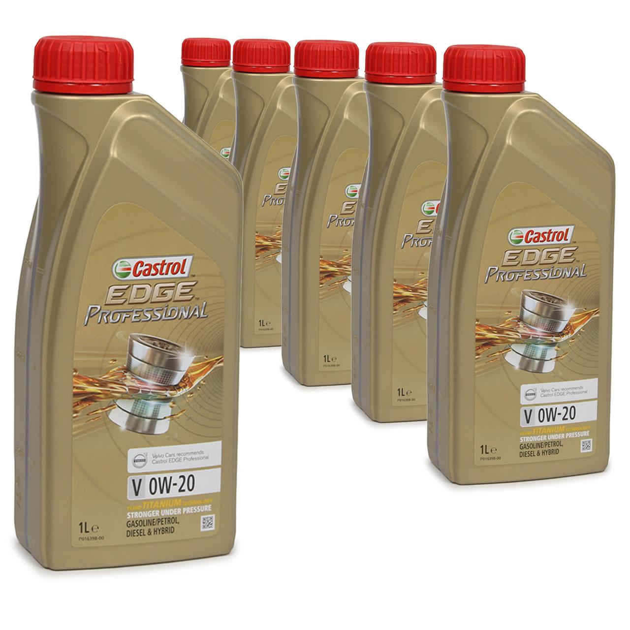 CASTROL EDGE Professional Motoröl ÖL TITANIUM FST V 0W20 C5 für VOLVO - 6 Liter